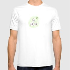 Cat & the moon Mens Fitted Tee White MEDIUM