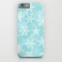 blue winter background with white snowflakes iPhone Case