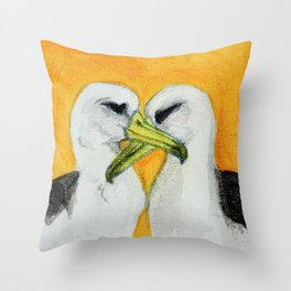 Orange Albatross Pair in Love Throw Pillow