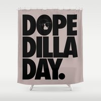 hiphop Shower Curtains featuring Dope Dilla Day by Rhashad