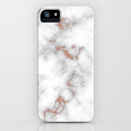 Rose gold gray and white marble iPhone Case