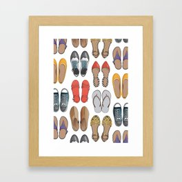 Hard choice // shoes on white background Framed Art Print