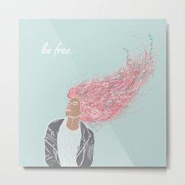 Be Free Wind Blowing Hair Metal Print