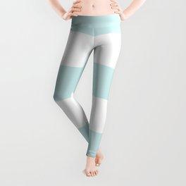 Wide Horizontal Stripes - White and Light Cyan Leggings