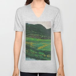 Idyllic Mountain and Meadow Landscape, A Clear Night in June by Nikolai Astrup Unisex V-Neck