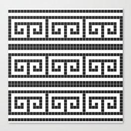 Black & white modern greek motifs tiles pattern Canvas Print