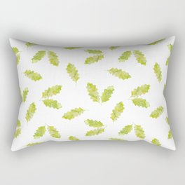 Hand painted green watercolor oak leaves pattern Rectangular Pillow