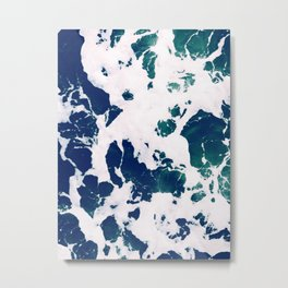 Marbleized Waves Metal Print
