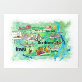 Iowa USA State Illustrated Travel Poster Favorite Tourist Map Art Print