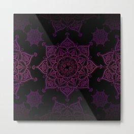 Violet Mandalas On Black Metal Print