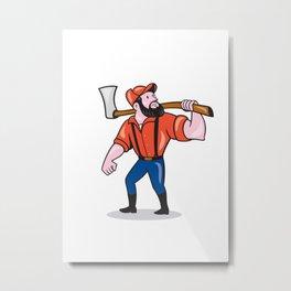 LumberJack Holding Axe Cartoon Metal Print
