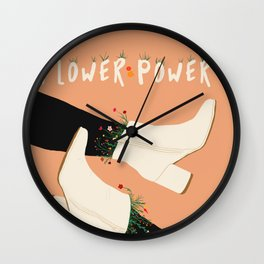 Flower Power Boots on Peach Background Wall Clock