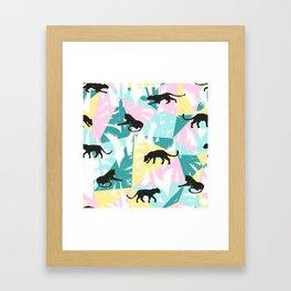 Black panthers modern tropical geometric background Framed Art Print