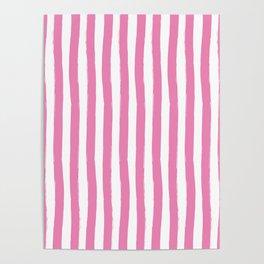 Pink and White Cabana Stripes Palm Beach Preppy Poster