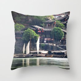 Yangtze River Village China 1 Throw Pillow