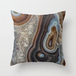 Mocha swirl Agate Throw Pillow