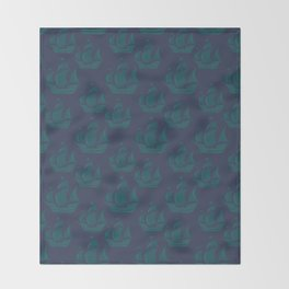 Teal Tall Ship Justice with Grey Cerulean Back Throw Blanket