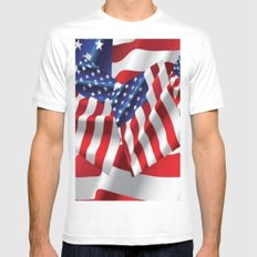 Patriotic American Flag Abstract Art White Mens Fitted Tee MEDIUM