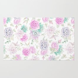 Pastel pink turquoise watercolor hand painted cactus floral Rug
