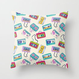 Vintage Cassette Tape Pattern Throw Pillow