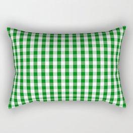 Christmas Green Gingham Check Rectangular Pillow