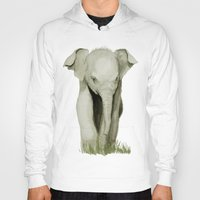 baby elephant Hoodies featuring Baby Elephant by Tanya Petruk