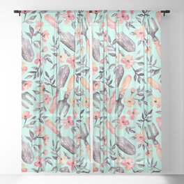 Spring Gardening - peach blossoms on mint Sheer Curtain