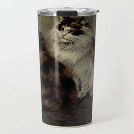 Vintage Painting of Fluffy Cats (1902) Travel Mug