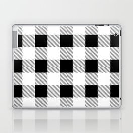 western country french farmhouse black and white plaid tartan gingham print Laptop & iPad Skin