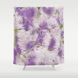 Purple - Lavender Fluffy Floral Abstract Shower Curtain