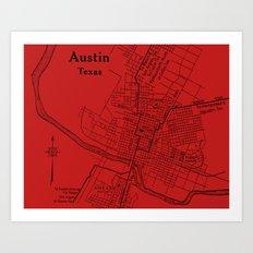 Vintage Austin Red Art Print