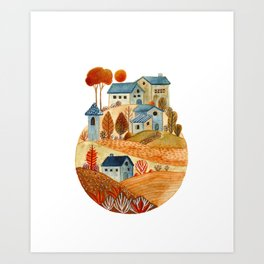 Circular village Art Print