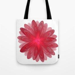 Red Flower Bloom Fractal Tote Bag