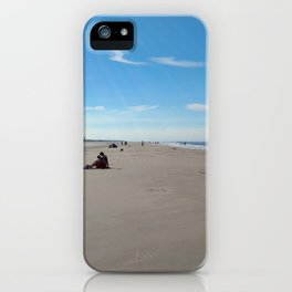low tide sand beach sunny summer day at ouddorp zeeland netherlands europe iPhone Case