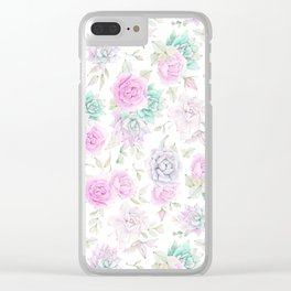 Pastel pink turquoise watercolor hand painted cactus floral Clear iPhone Case