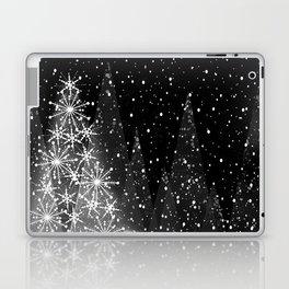 Elegant Black and White Christmas Trees Holiday Pattern Laptop & iPad Skin