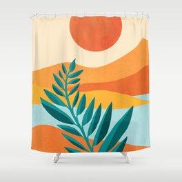Mountain Sunset / Abstract Landscape Illustration Shower Curtain