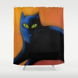 Abstract Black Cat Digital Painting  Shower Curtain