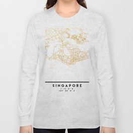 SINGAPORE CITY STREET MAP ART Long Sleeve T-shirt