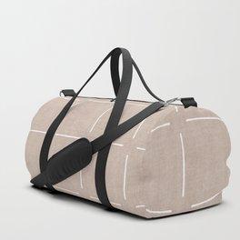 Block Print Simple Squares in Tan Duffle Bag