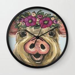 Pig Painting, Flower Crown Pig, Cute Farm Animal Wall Clock