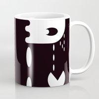 pac man Mugs featuring PAC MAN by MISTER BLACKWHITE