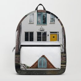 Row houses and Canal in The Netherlands Backpack