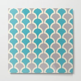 Classic Fan or Scallop Pattern 416 Gray and Turquoise Blue Metal Print