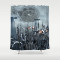 sci fi Shower Curtains featuring Sci-Fi City by Michael Lenehan