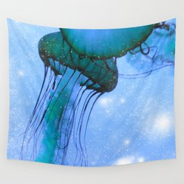 Blue Glow Jelly Fish Wall Tapestry