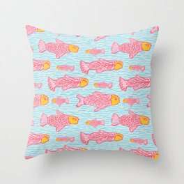Pastel Shoal of Fish, Seamless Seaweed Animal Vector Pattern Background Throw Pillow