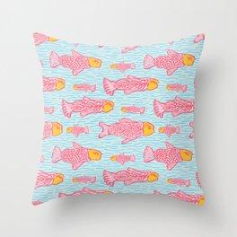 Pastel Shoal of Fish, Seamless Seaweed Animal Vector Pattern Background Throw Pillow