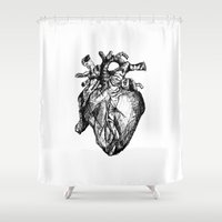 anatomical heart Shower Curtains featuring heart by Isa Ribeiro