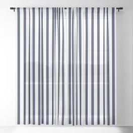 Navy Blue Vertical Stripes Sheer Curtain